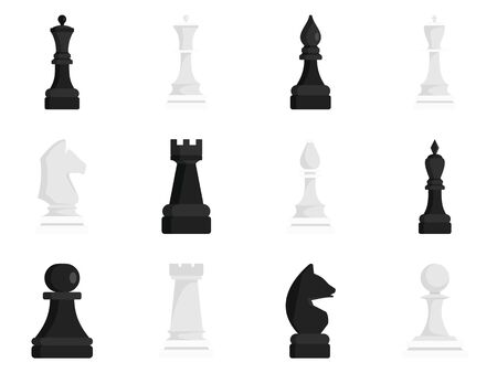 Schaken pictogrammenset, vlakke stijl