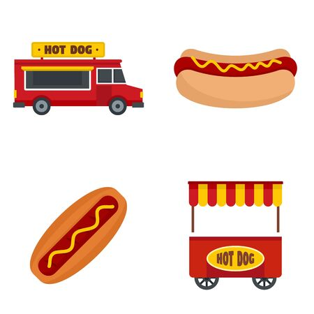 Hot dog icon set, flat style