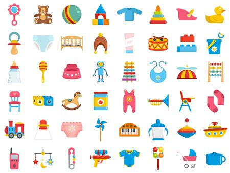 Baby items icon set, flat style