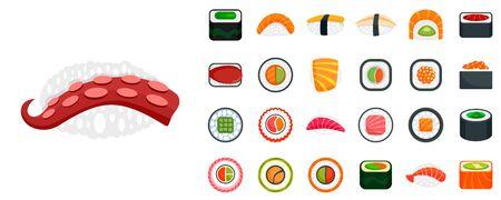 Sushi roll icon set, flat style