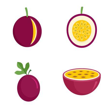 Maracuja icons set, flat style 일러스트