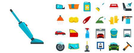 Car wash icon set, flat style