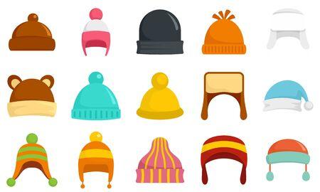 Winter headwear icon set, flat style