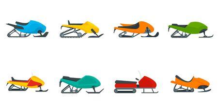 Snowmobile icon set, flat style