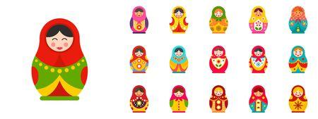 Nesting doll icon set, flat style Çizim