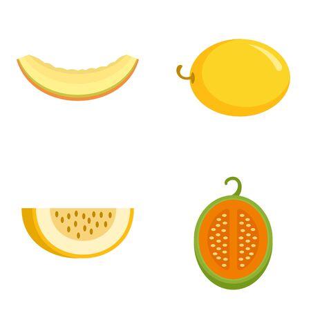 Melon icons set, flat style 일러스트