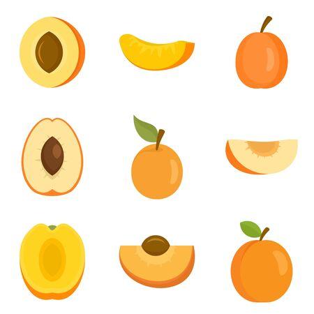 Apricot icons set, flat style