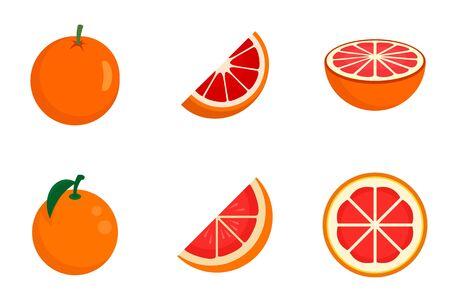 Grapefruit icons set, flat style