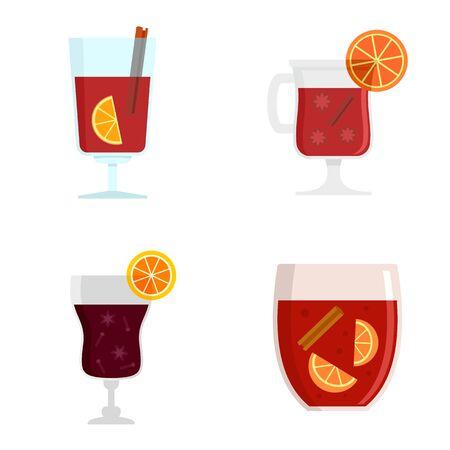 Mulled wine icon set, flat style Ilustração