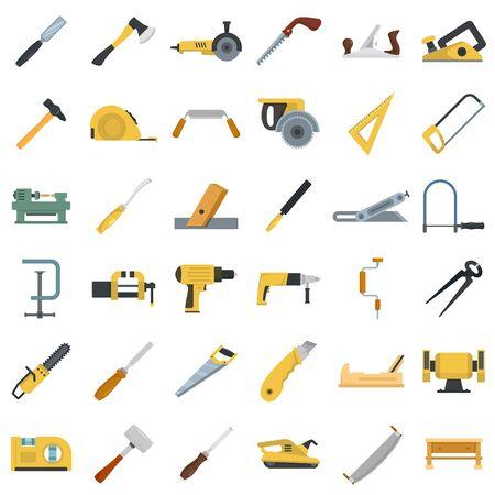 Insieme dell'icona del carpentiere, stile piano