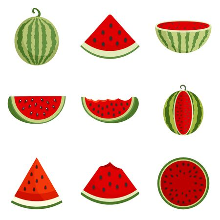 Watermelon icons set, flat style Çizim