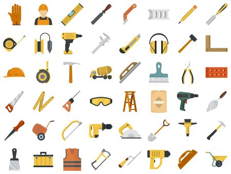 Masonry worker icon set, flat style Stock Illustratie