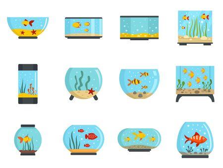 Aquarium icon set, flat style Çizim