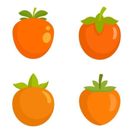 Persimmon icon set, flat style Stock Illustratie