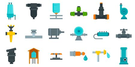 Irrigation system icon set, flat style Stock Illustratie