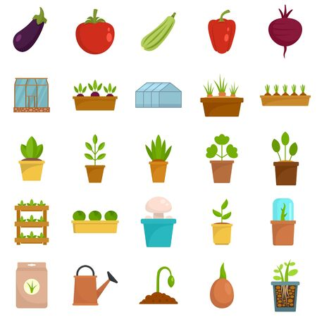 Greenhouse icon set, flat style