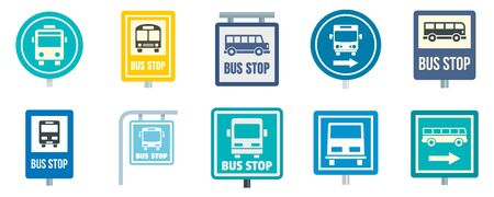 Bus stop icon set, flat style 일러스트