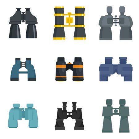Binoculars icons set, flat style