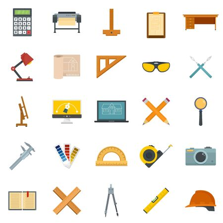 Architect equipment icons set, flat style