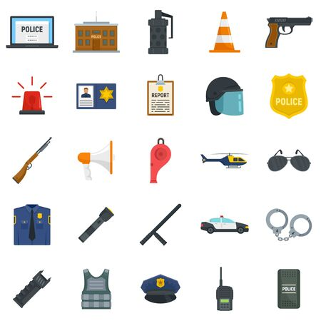 Police equipment icons set, flat style