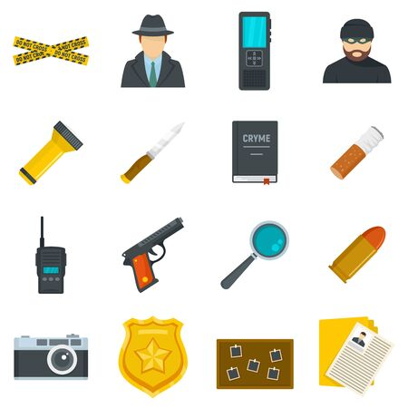 Crime investigation icons set, flat style
