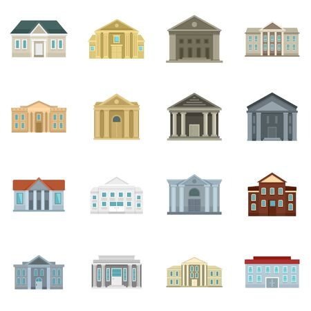 Courthouse icons set, flat style