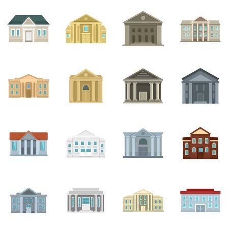 Courthouse icons set, flat style Standard-Bild - 129578207