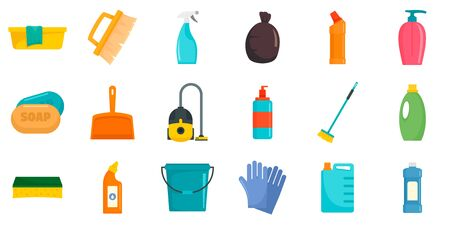 Cleaner equipment icons set, flat style