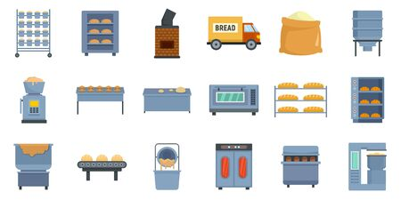 Bakery factory icons set, flat style