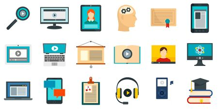 Interactive learning icons set, flat style