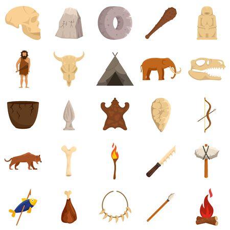 Stone age icons set, flat style Çizim