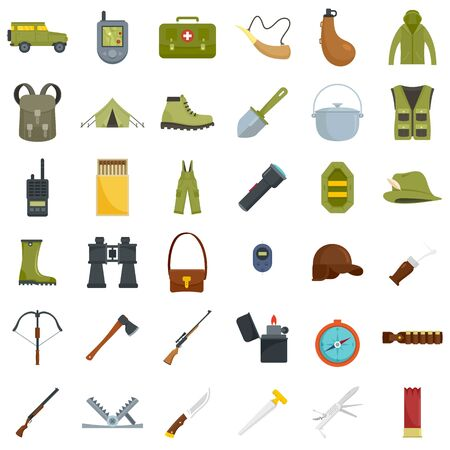 Hunting equipment icons set, flat style Çizim