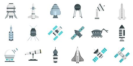 Space research technology icons set, flat style