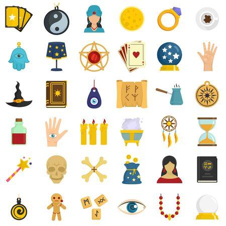 Magic fortune teller icons set, flat style