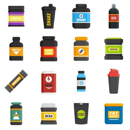 Sport nutrition icons set, flat style