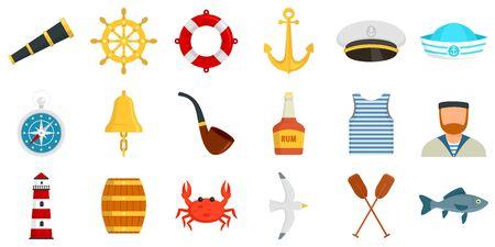 Sailor icons set, flat style