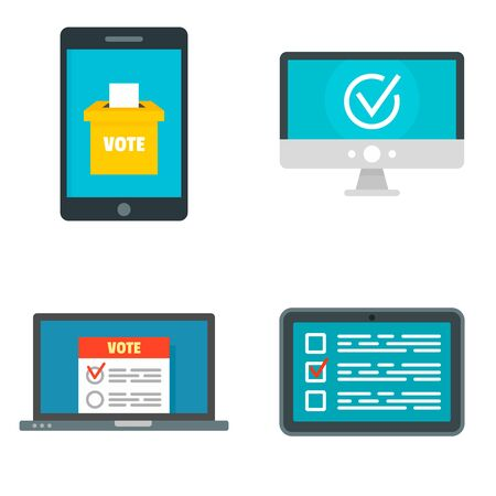 Online vote icons set, flat style