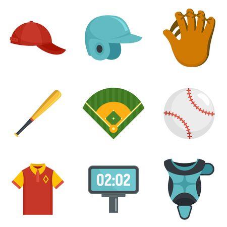 Baseball icons set, flat style