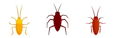 Cockroach icons set, flat style