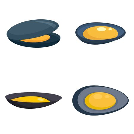 Mussels icons set, flat style Stock Illustratie