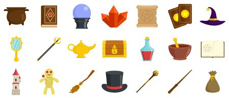 Wizard tools icons set, flat style