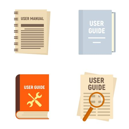 User guide icons set, flat style Illustration