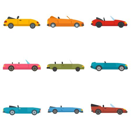 Cabriolet icons set, flat style