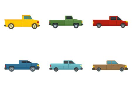 Pickup icons set, flat style Banque d'images - 129578754