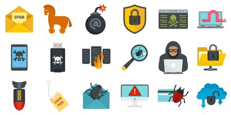 Cyber attack icons set, flat style Stock Illustratie