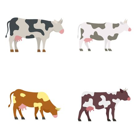 Cow icons set, flat style