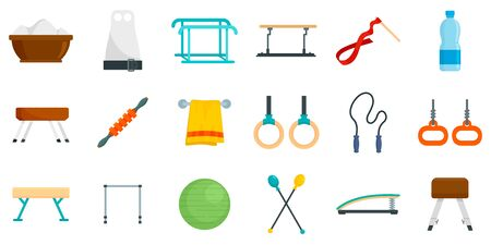 Gymnastics equipment icons set, flat style Illustration
