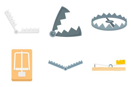 Trap icons set, flat style Stock Vector - 129578771