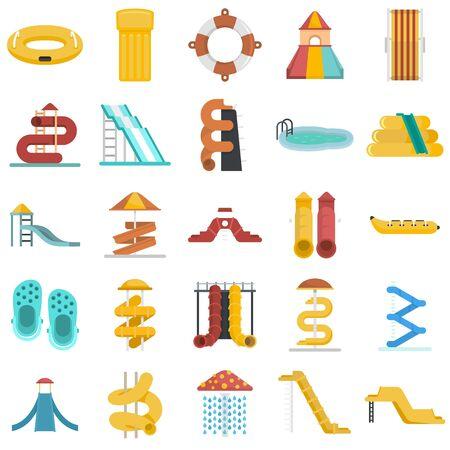 Aquapark icons set, flat style