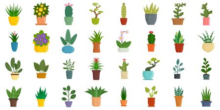 Houseplants icons set, flat style
